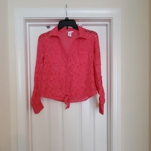Candies hot pink lace button down